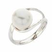 Anello Boccadamo con perla bianco avvolta in lamine di argento
